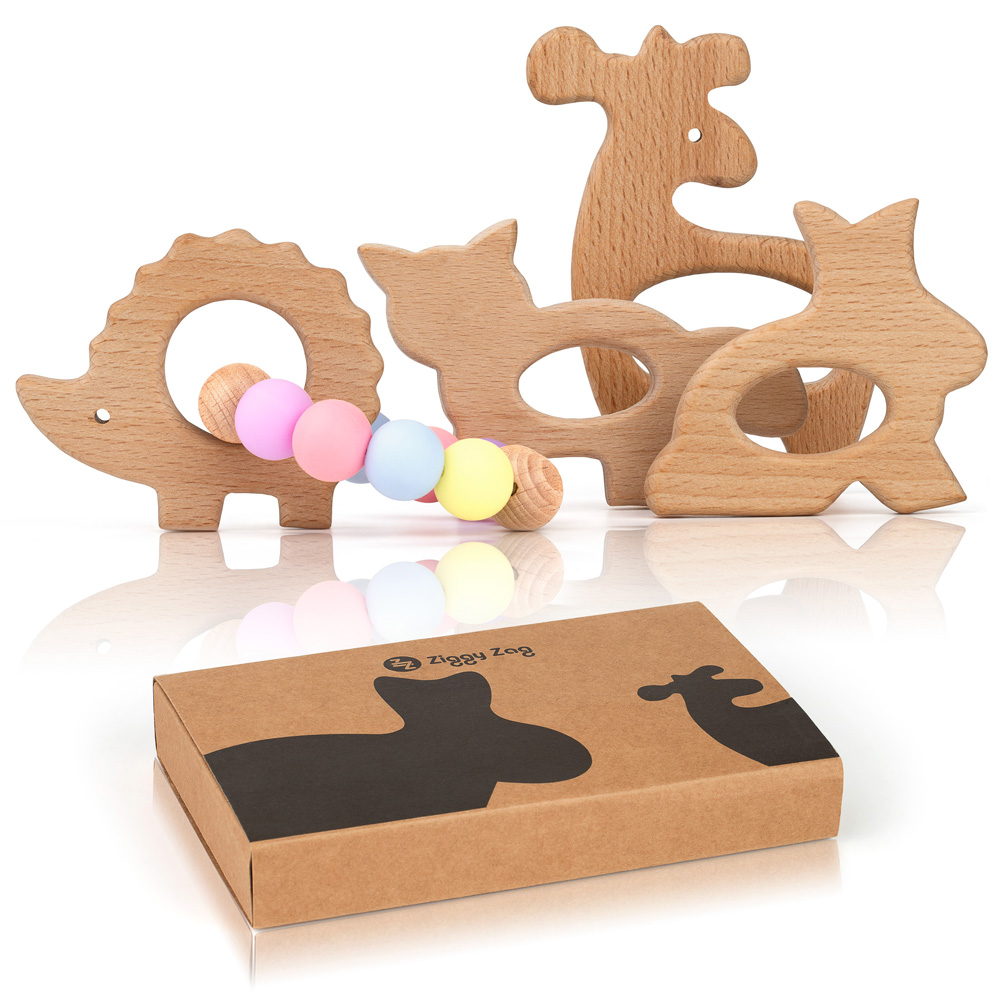 Creative Product Photography for Amazon. Baby Woden Teether.