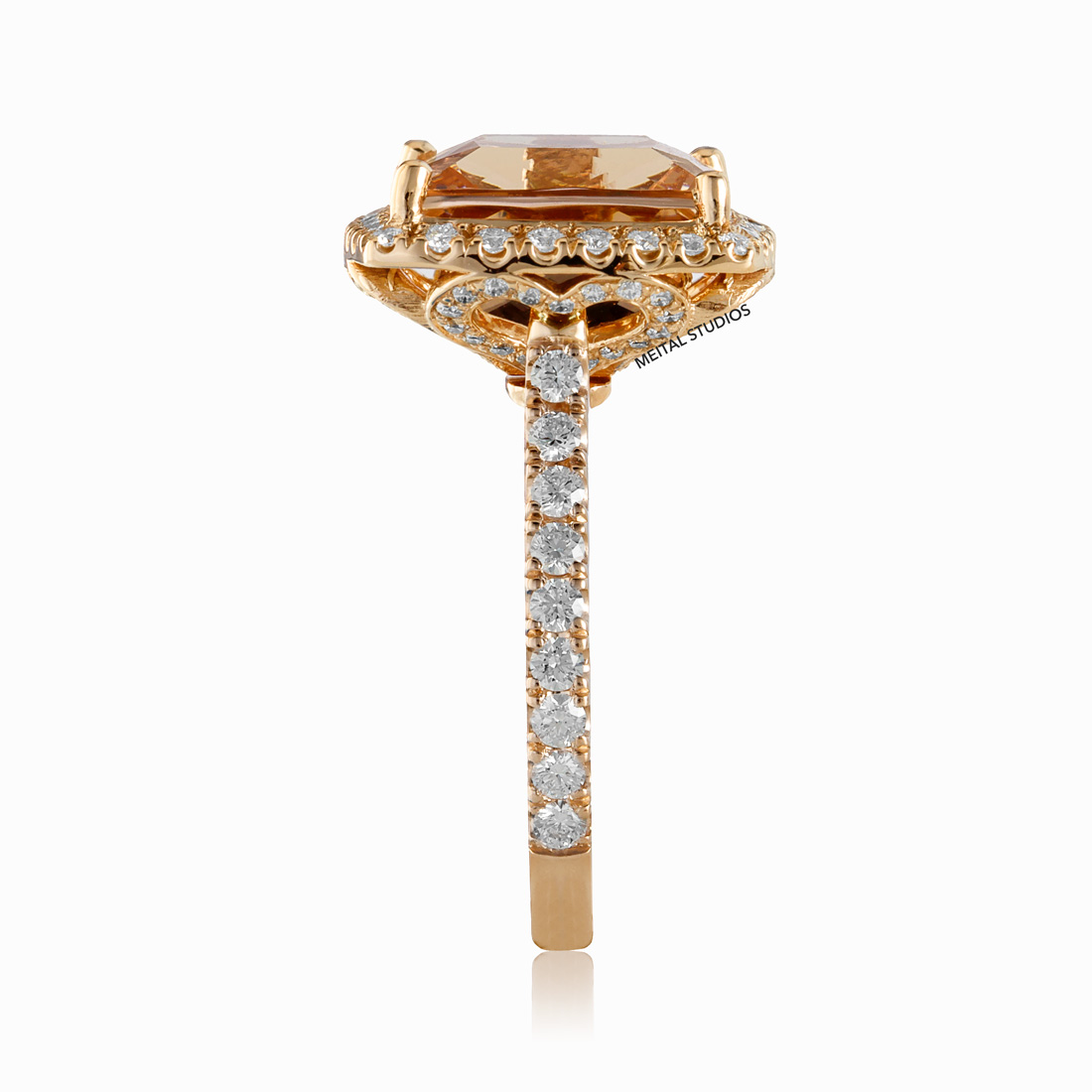 Gold Diamond Ring Side.