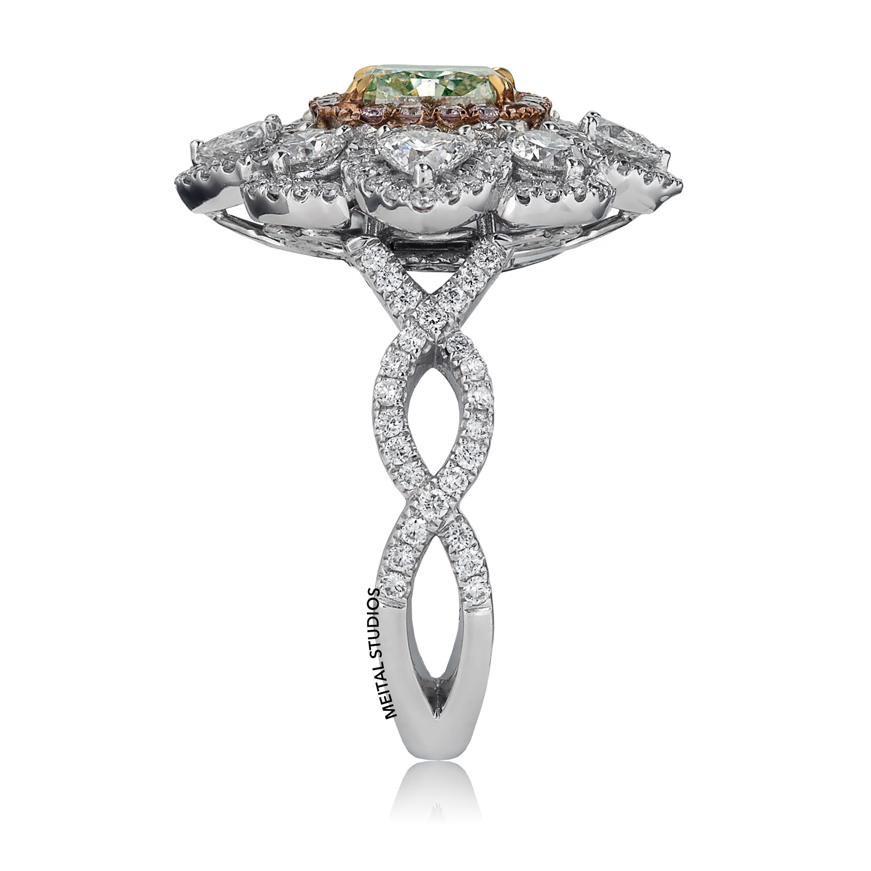 Diamond Flower Ring Standing.
