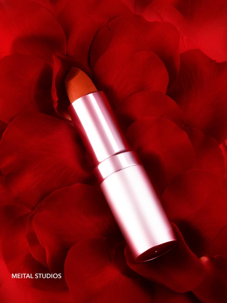 Red Lipstick on Rose Petals